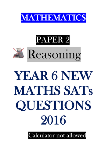 New Sats 2016 Paper 2 Reasoning - bundle of 5 assessments
