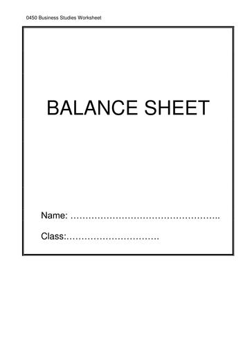 Balance Sheet Worksheet