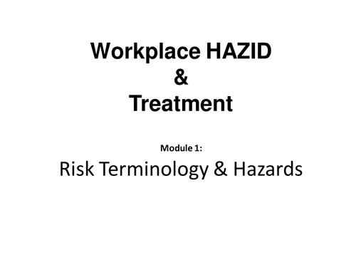 Risk Terminology & Hazards