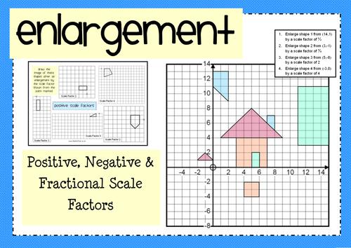 enlargement positive negative fractional scale factors by mathspaduk teaching resources. Black Bedroom Furniture Sets. Home Design Ideas