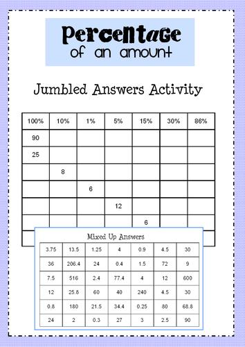 Percentages Grid (Jumbled Answers)