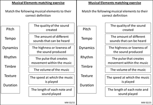 Elements of music matching exercise, graphical score notation grid ...