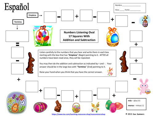 Spanish Easter Numbers Listening  and Math Activity