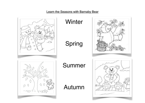 Barnaby Bear and the Four Seasons by loretolady Teaching – Season Worksheets for Kindergarten