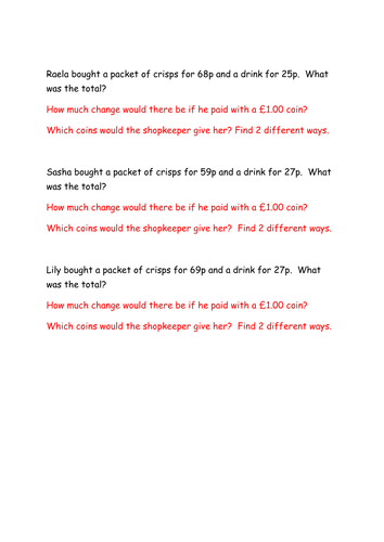 Year 2 greater depth - money - 2 step word problems
