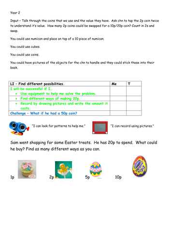 Year 1 or 2 - Easter maths investigation - money