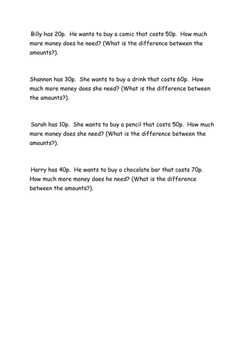 Year 2 - Knowing the differemce between two amounts of money - develop fluency