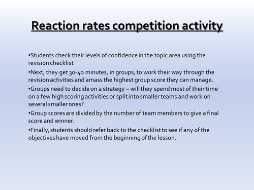 AQA C2.4 Reaction Rates Revision Competition