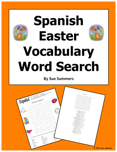 Spanish Easter and Spring Word Search and Vocabulary