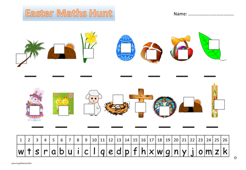 Easter Symbol Maths hunt by woodcut1 - Teaching Resources - TES