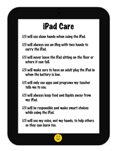 iPad Care & Reminders for the Classroom