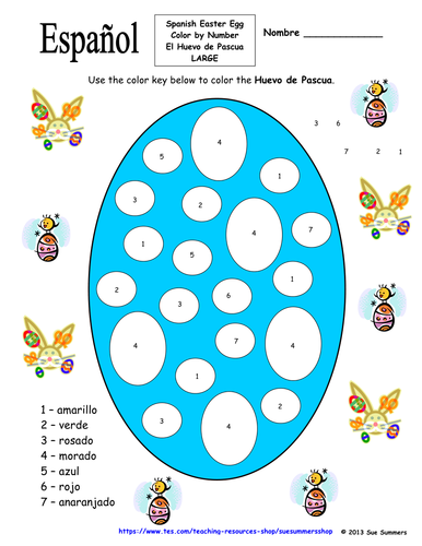 spanish easter egg color by number huevo de pascua by