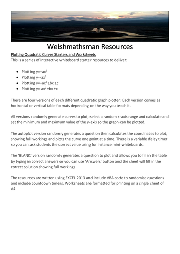 Welshmathsman Resources Plotting Quadratic Graphs Starters and Worksheets