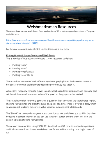 Welshmathsman Resources Plotting Quadratic Graphs Starters and Worksheets Free Version
