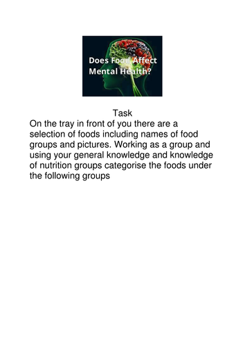 Food and Mood Lesson Plan and resources