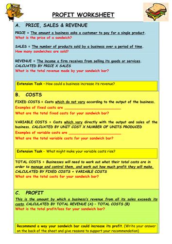 Profit GCSE Business Finance Topic
