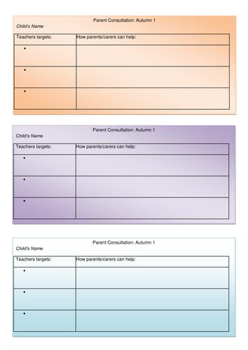 Parents meeting/consultation slips.