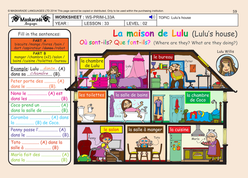 French unit 7 my home y4 y5 my home my bedroom for Le salon in french