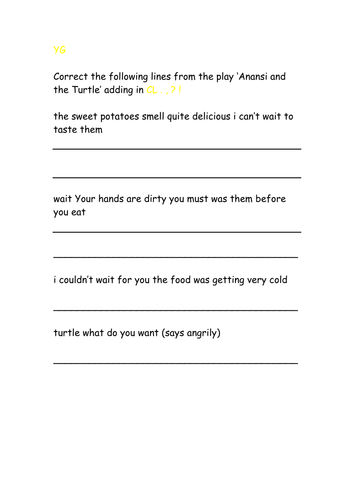 4 way differentiated Anansi and the Turtle punctuation correction exercise