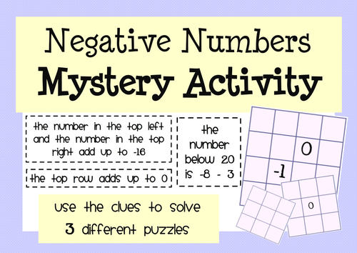 Negative Numbers: Activities & Puzzles