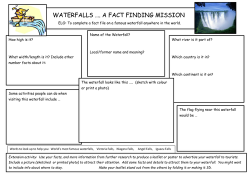ks2 ks3 waterfall fact finding task by orladonnelly teaching resources. Black Bedroom Furniture Sets. Home Design Ideas