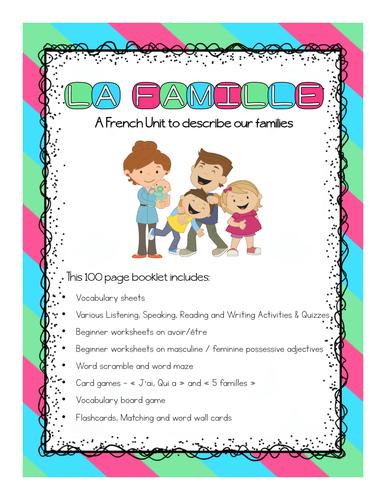 La famille - French Family Unit (Describing Families)
