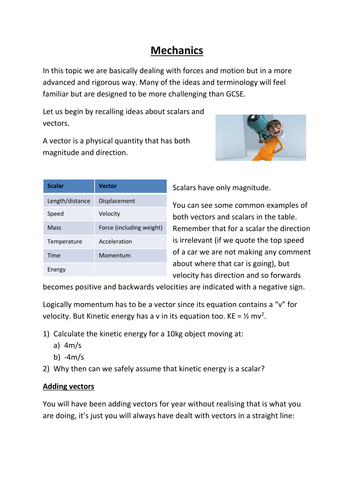 AQA A-level Physics: Mechanics (notes and question booklet)