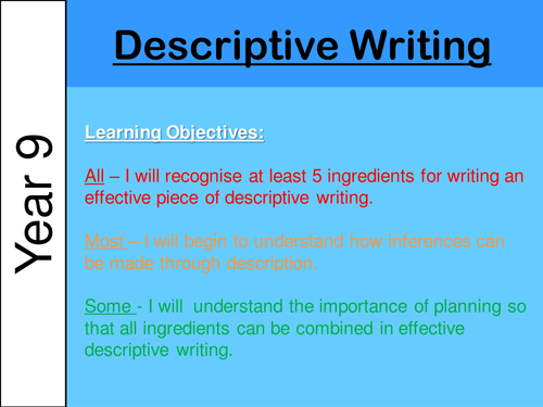 ks3 descriptive writing by h phelan3652 teaching resources tes