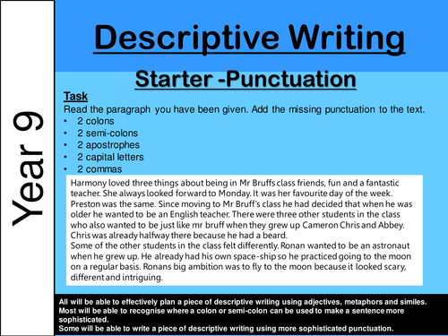 ks3 descriptive writing punctuation and personification by