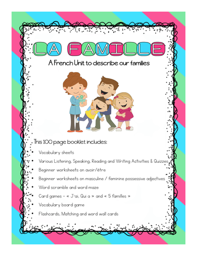 La Famille - French Family Booklet (Describing families)