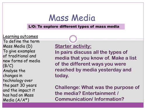 mass media and entertainment