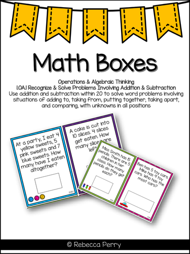 1.OA.1 - Math Boxes Math Center