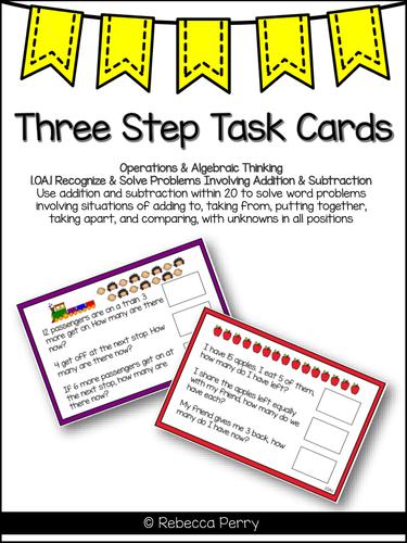 1.OA.1 Three Step Math Task Cards - Math Center