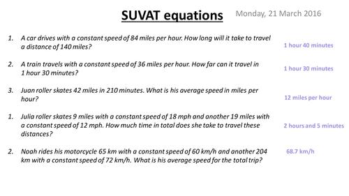 A level Maths: Mechanics: SUVAT worksheet by phildb - Teaching ...