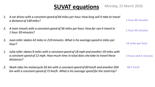 Suvat Equations Kinematics Teaching Resources