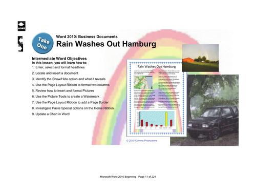 Microsoft Word 2013 Intermediate: Rain Washes Out Hamburg (Create a Newsletter)
