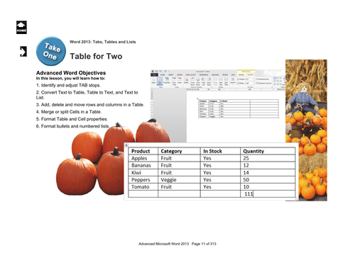 Microsoft Word 2013 Advanced: Tabs and Tables