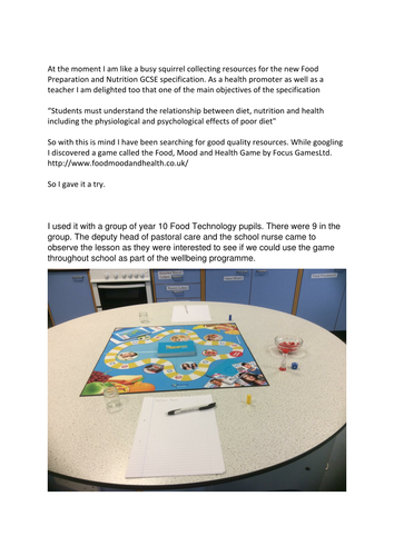 Pupil well being - food,mood and health game.