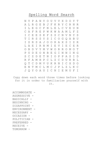 Common Spellings Word Search