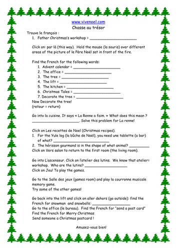French Teaching Resources: Christmas Web Quest. Noël & Wallace & Gromit Cardomatic Worksheet.