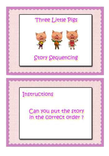EYFS Story Sequencing  two stories ( three pigs and gingerbread man)