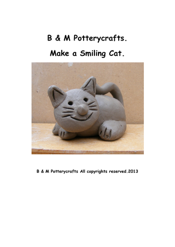 Clay modelling. Make a smiling cat.