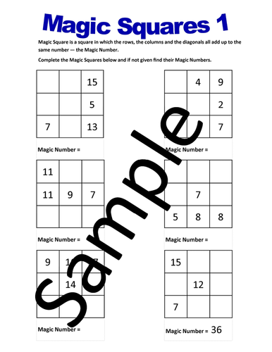 Magic Squares – Worksheets by NewMathWorld - Teaching Resources - Tes