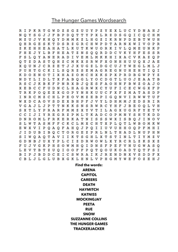 Hunger Games Word Search & Crossword