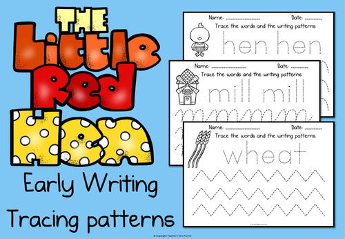 the little red hen early writing tracing patterns by teacherstimeturner teaching resources. Black Bedroom Furniture Sets. Home Design Ideas