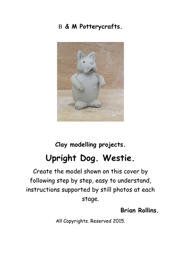 Upright dog. Clay modelling.
