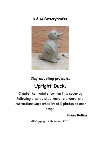 Upright Duck. Clay modelling.