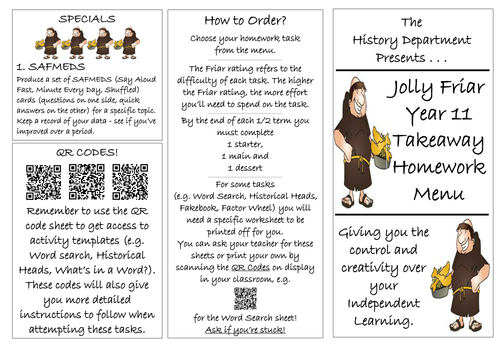 Takeaway History Homework: Generic version for GCSE Yr11 with QR Codes