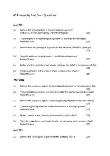 WJEC AS Philosophy Past Exam Questions 2012 - 2014