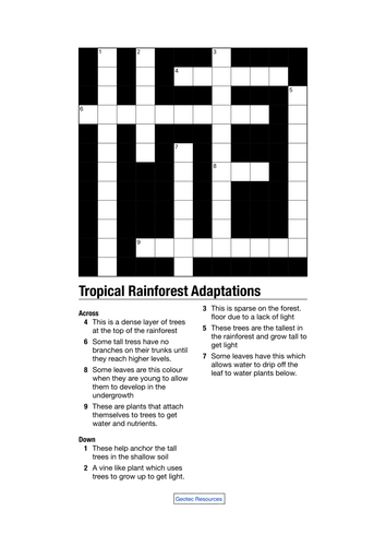 Tropical Rainforest Adaptations Crossword by geotec1